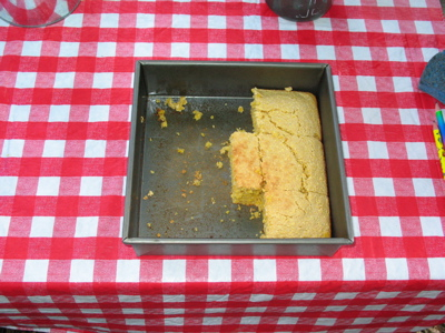 Cornbread baked in a barbecue
