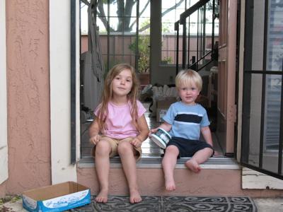 Last shot of the kids at the door